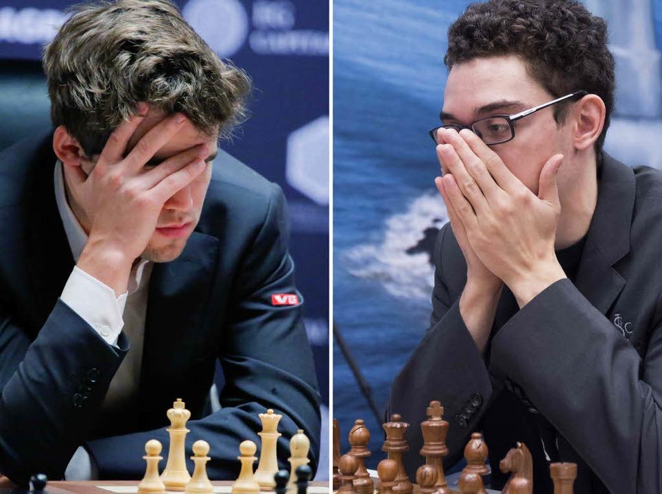 Carlsen (links) und Caruana am Brett  | Foto: AFP