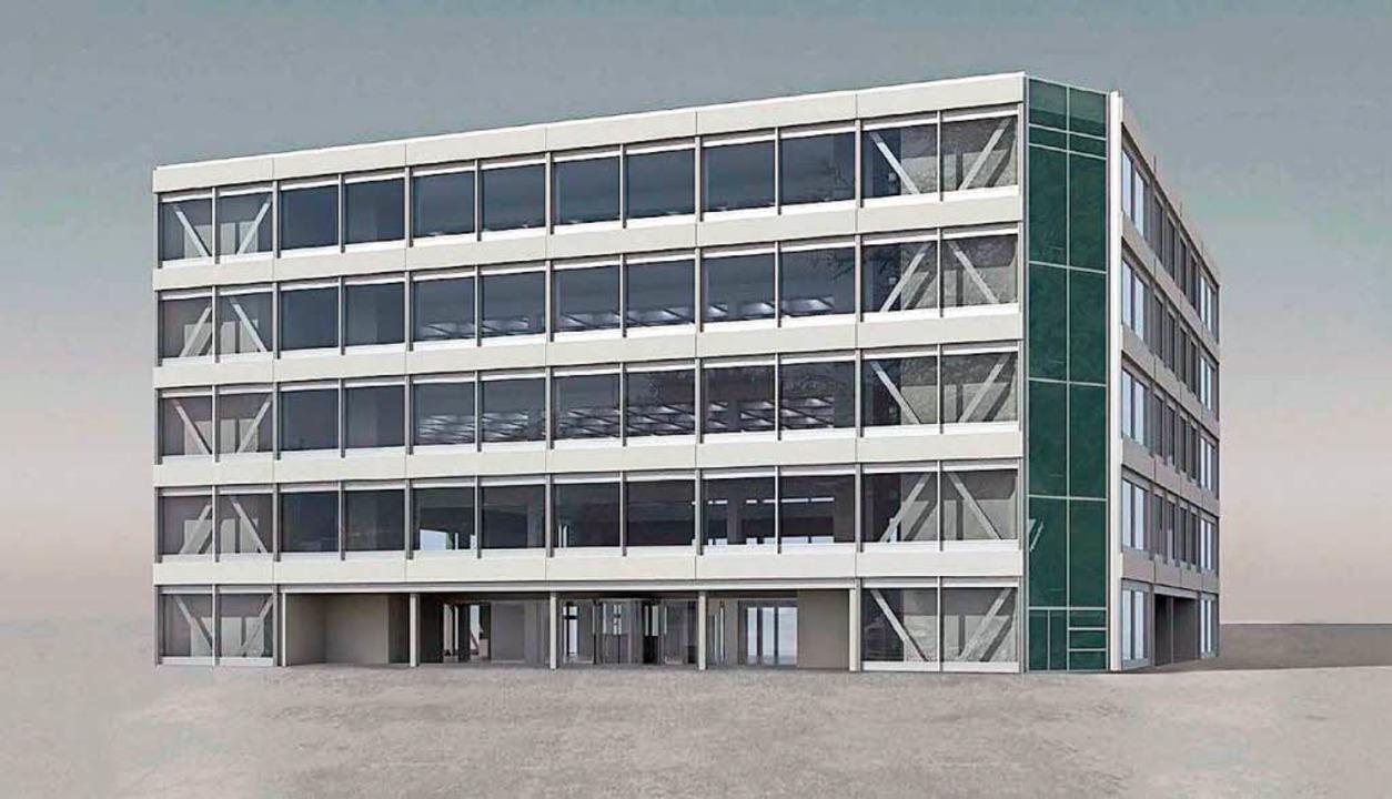 Fassadenansicht des von Roche geplanten Flexible Office Building  | Foto: Roche