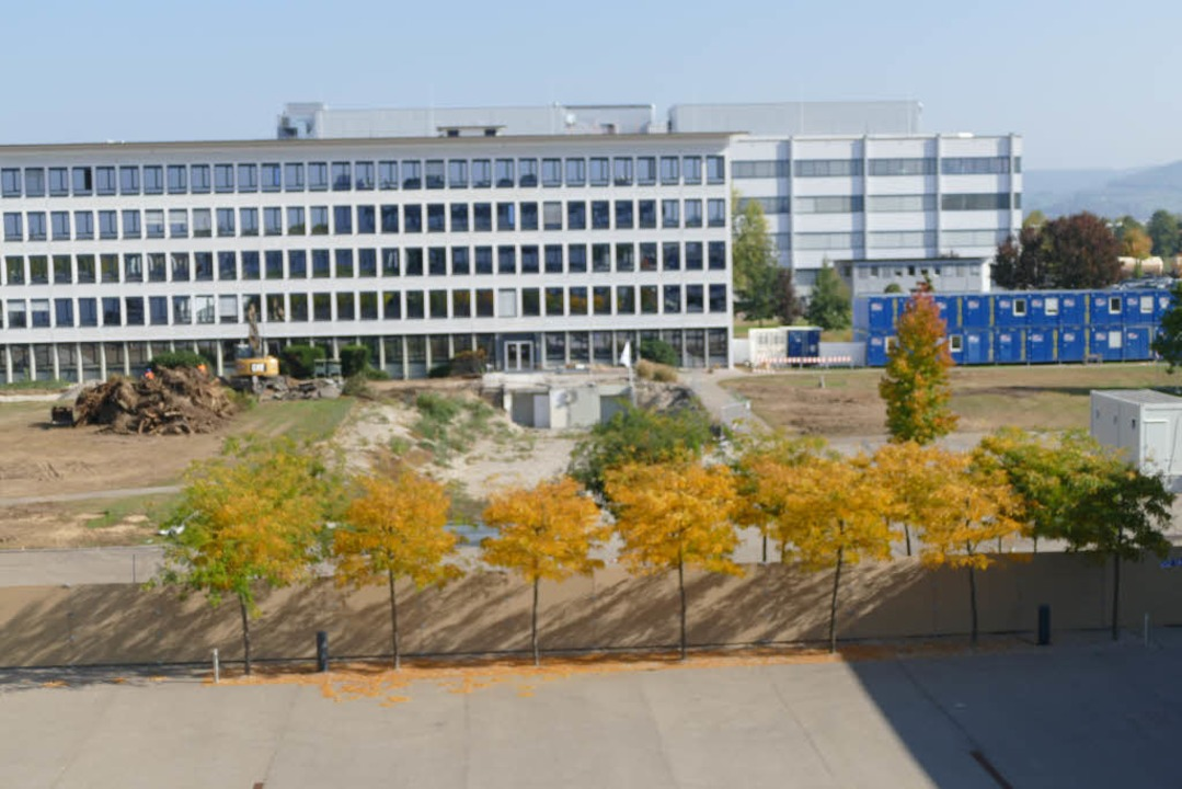Die Baustelle für das Flexible Office Building bei Roche von oben  | Foto: Elena Borchers