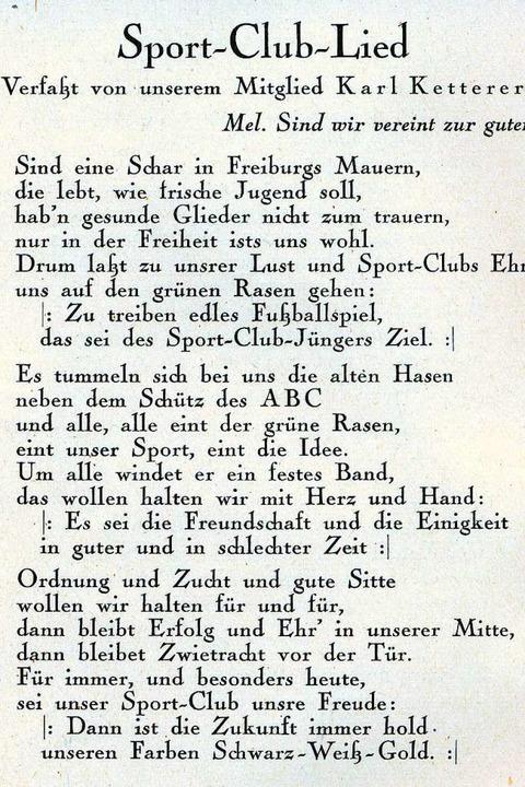 Der Liedtext von SC-Urgestein und Vereinsmitbegründer Karl Ketterer  | Foto: Archiv des SC Freiburg e.V.
