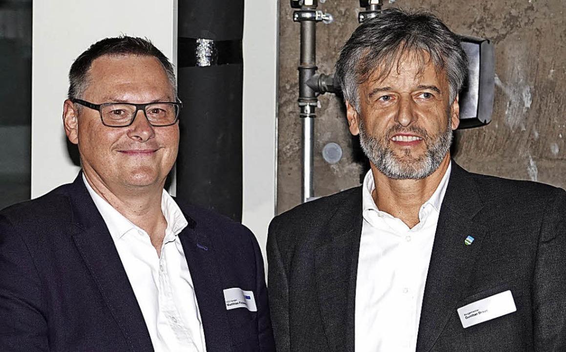 Richtfest beim Neubau  im Wiesenweg: H...d Steinens Bürgermeister Gunther Braun    Foto: Hege