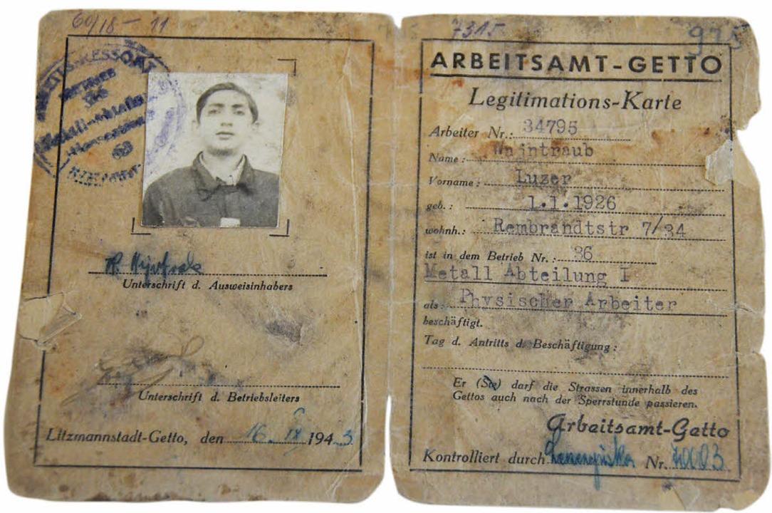 Legitimationskarte von Leon Weintraub im Ghetto Litzmannstadt   | Foto: Sebastian Krüger/Thomas Biniossek