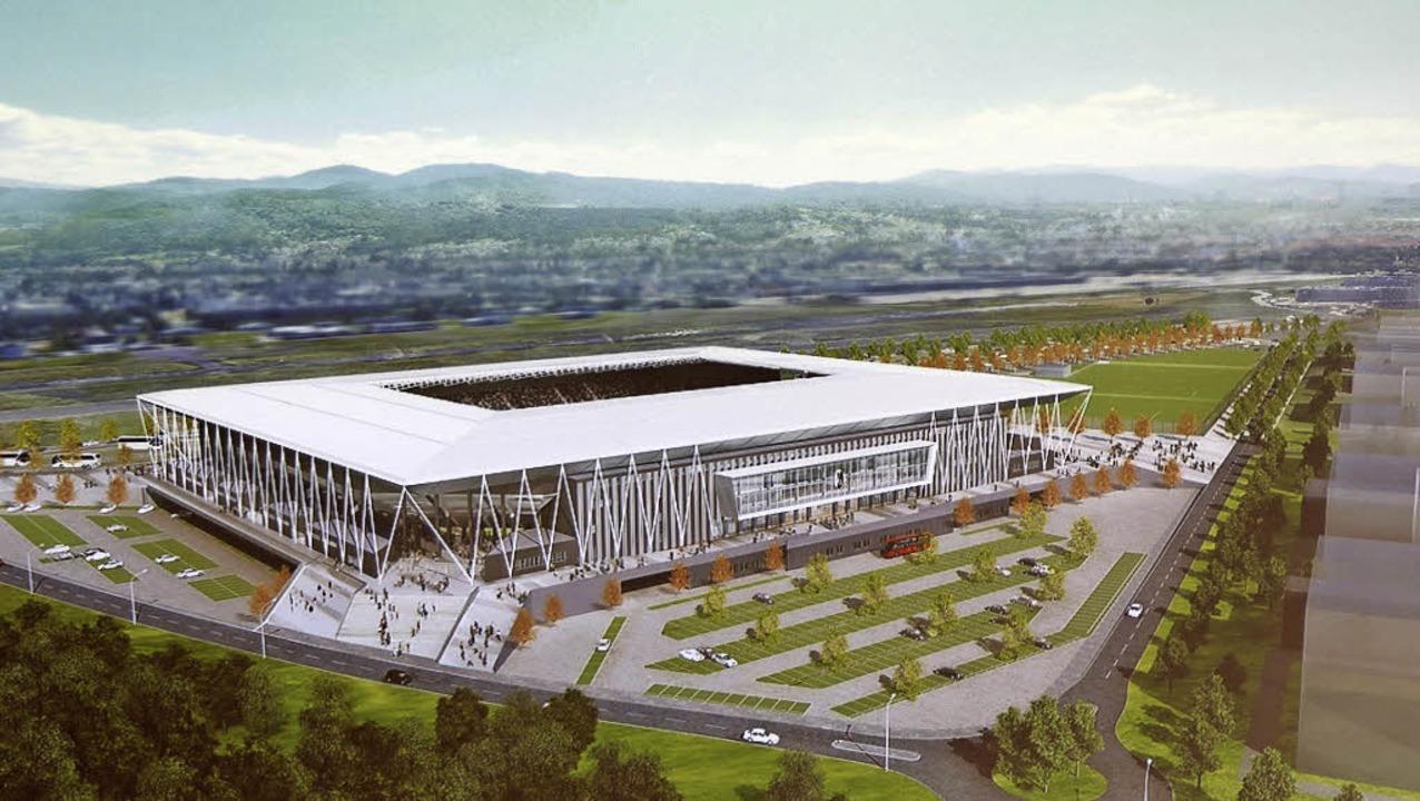 So soll's mal aussehen, wenn&#82...st: das neue Stadion des SC Freiburg    | Foto: Hahne