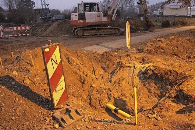 Gasleitung in Gottenheim bei Bauarbeiten gekappt