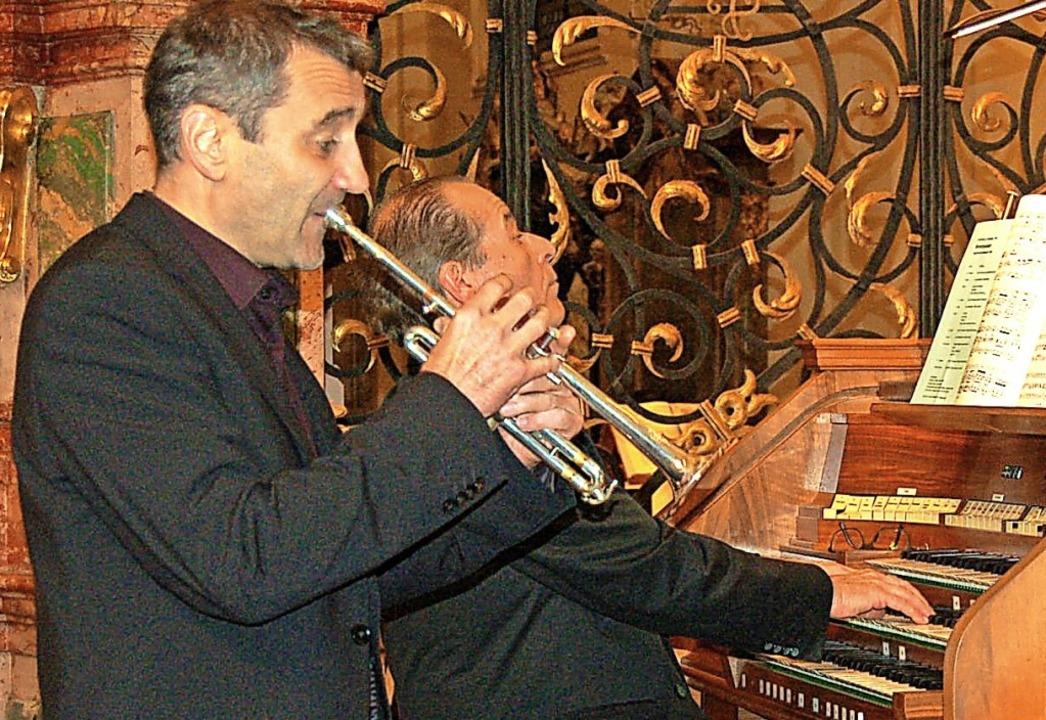 Trompeter Achim Stöhr  und Johannes Götz an der Orgel  | Foto: Christian Ringwald