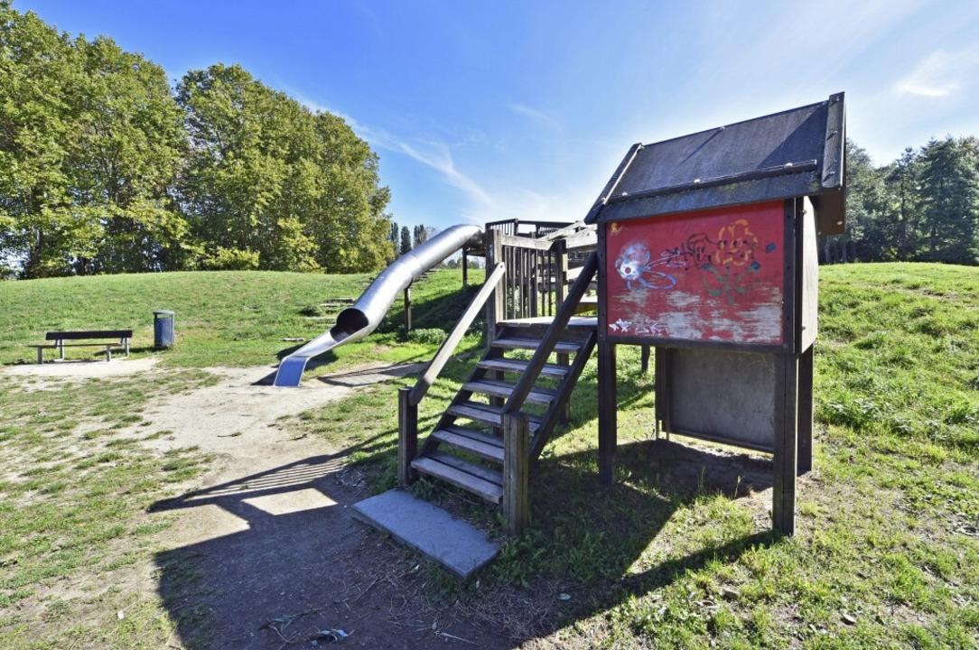 So sieht der Dietenbachpark aktuell au...lten Überreste des Kinderspielplatzes.  | Foto: Michael Bamberger