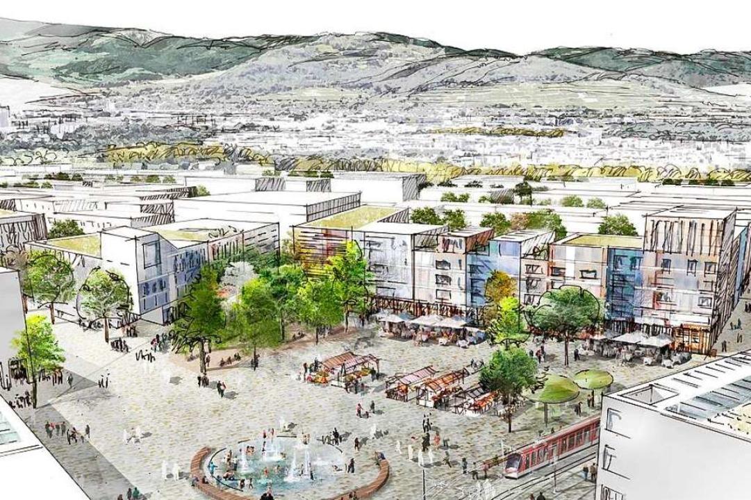 So könnte der zentrale Platz im neuen Stadtteil Dietenbach aussehen.  | Foto: K9 Architekten