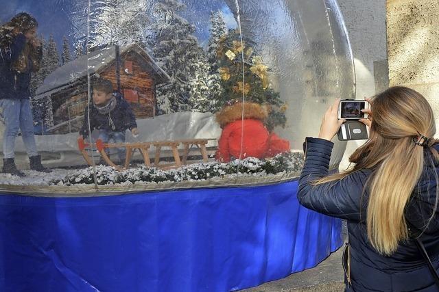Selfie-Schneekugel und Maroni