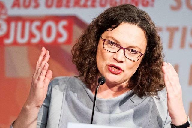 Andrea Nahles warnt die Jusos vor Spaltung