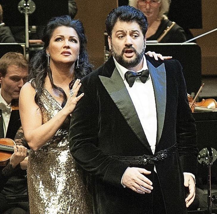 Anna Netrebko und ihr Mann Yusif Eyvazov bei der Verdi-Gala in Baden-Baden   | Foto: M. Gregonowits