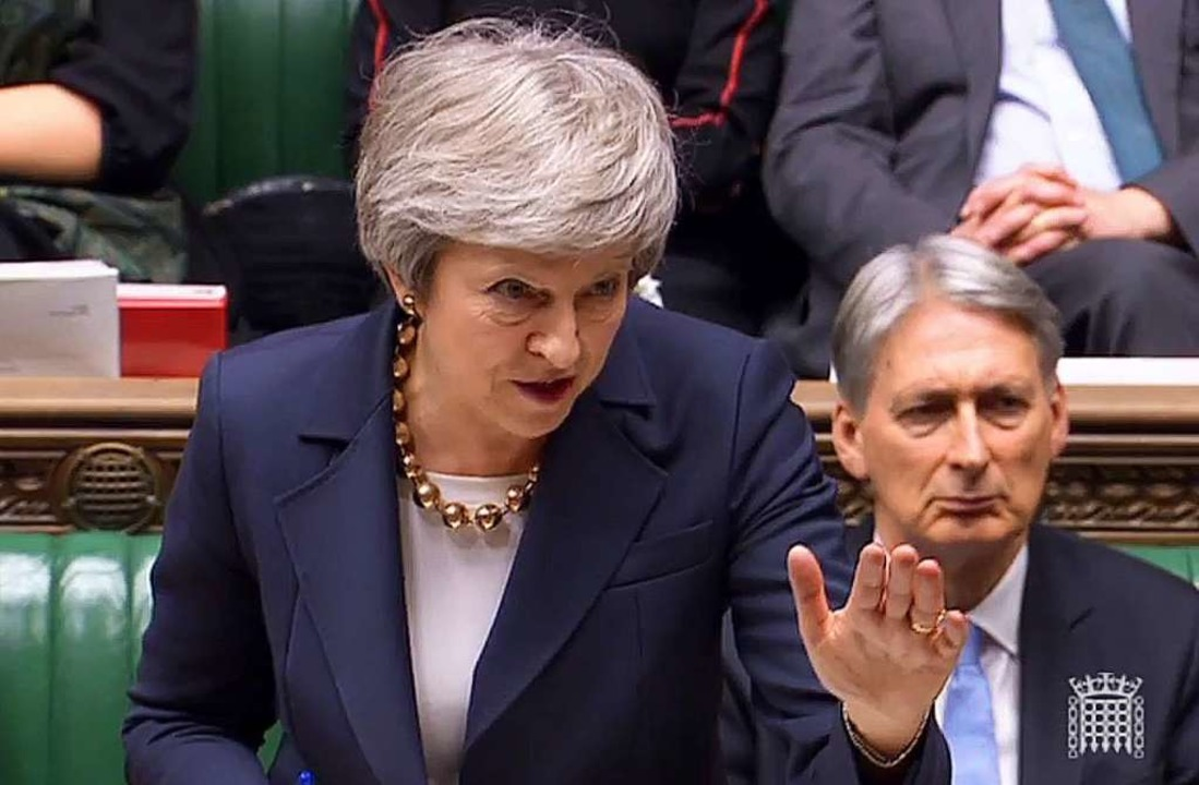 Theresa May im Parlament    Foto: AFP