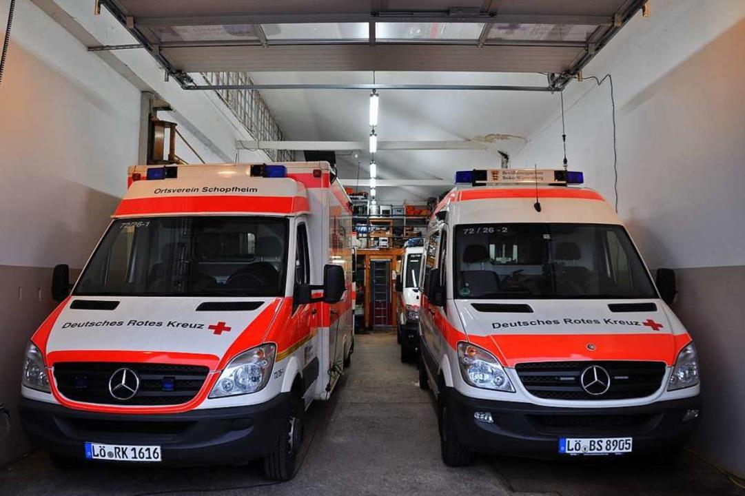 In der ersten Reihe stehen zwei Rettun...en und Mannschaftstransporter geparkt.  | Foto: Nicolai Kapitz
