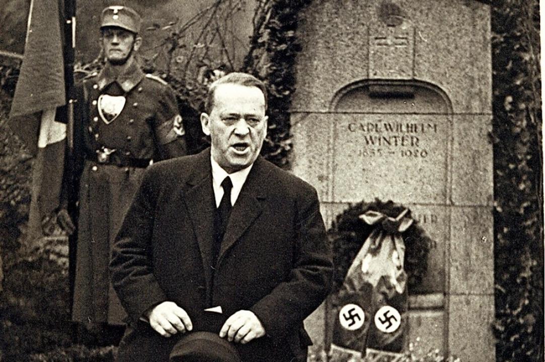 Der NS-Dichter bei einer Rede     Foto:  Burte-Archiv Maulburg