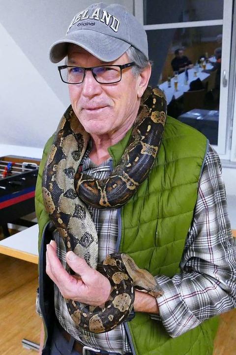Gerd Schindler zeigt sich unerschrocken im Umgang mit Schlangen.  | Foto: voab