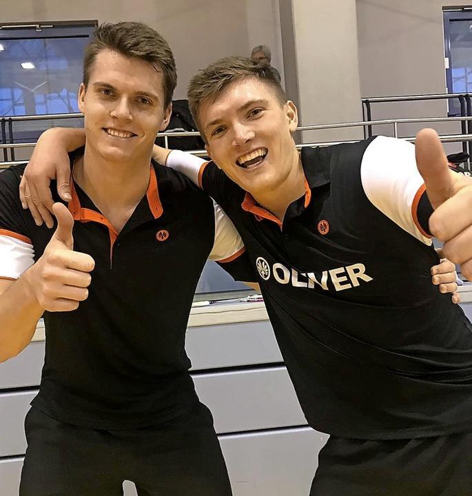 Jonas und Lukas Burger nach ihrem vierten Meistertitel in Folge.     Foto:  Paloma Wich