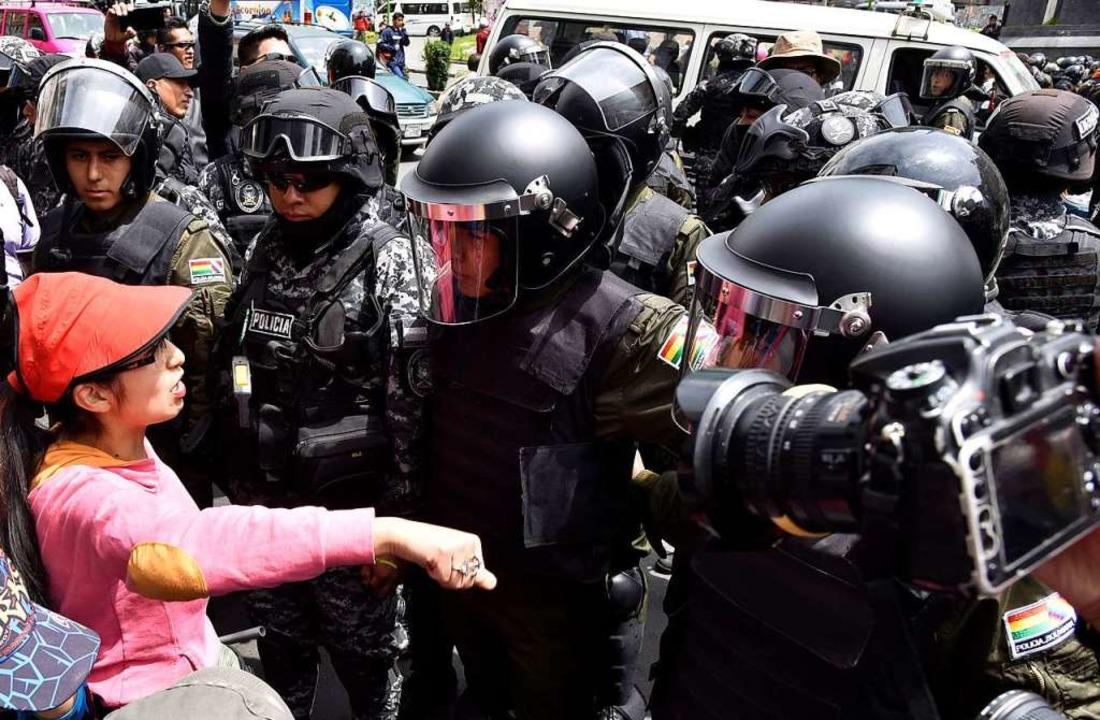 Protest gegen Morales in La Paz    Foto: dpa