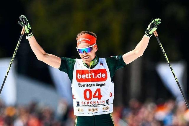 Kombinierer Fabian Rießle sprintet beim Langlauf-Weltcup in Davos
