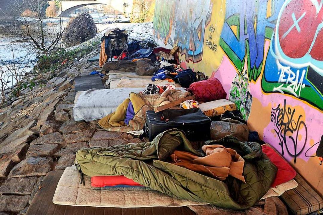 Ganzjährig draußen: Obdachlosenschlafp... diesem Fall  in Freiburg (Symbolbild)  | Foto: Thomas Kunz