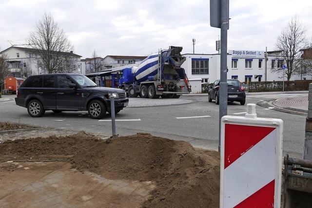 Kreisverkehr an Biengener Allee ist fast fertiggestellt