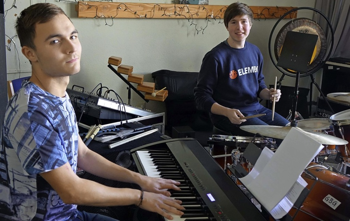 Junge Jazztalente: Denis Liske am Pian...chule Rheinfelden auch eigene Stücke.   | Foto: Roswitha Frey
