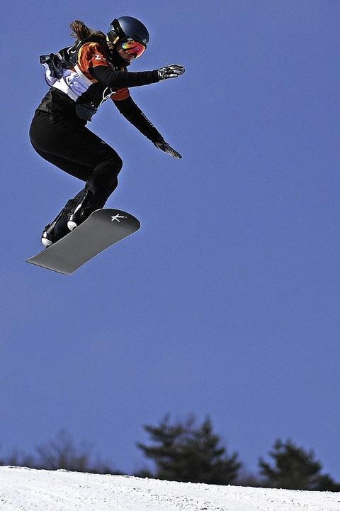 Völlig losgelöst: Jana Fischer bei der... olympischen Monster-Kurs in Südkorea.    Foto: dpa