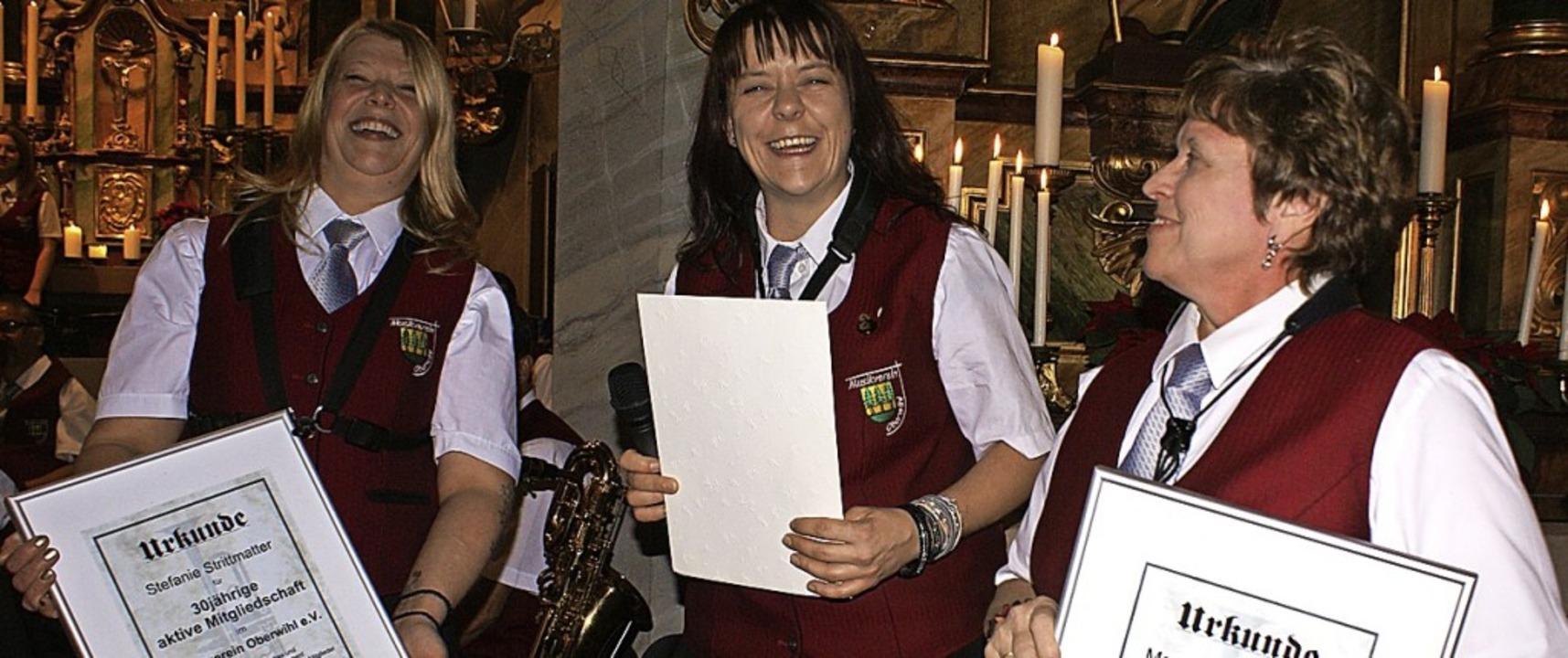 Für 30-jährige Treue im Musikverein Ob... 45 Jahre aktives Wirken geehrt wurde.    Foto: Probst