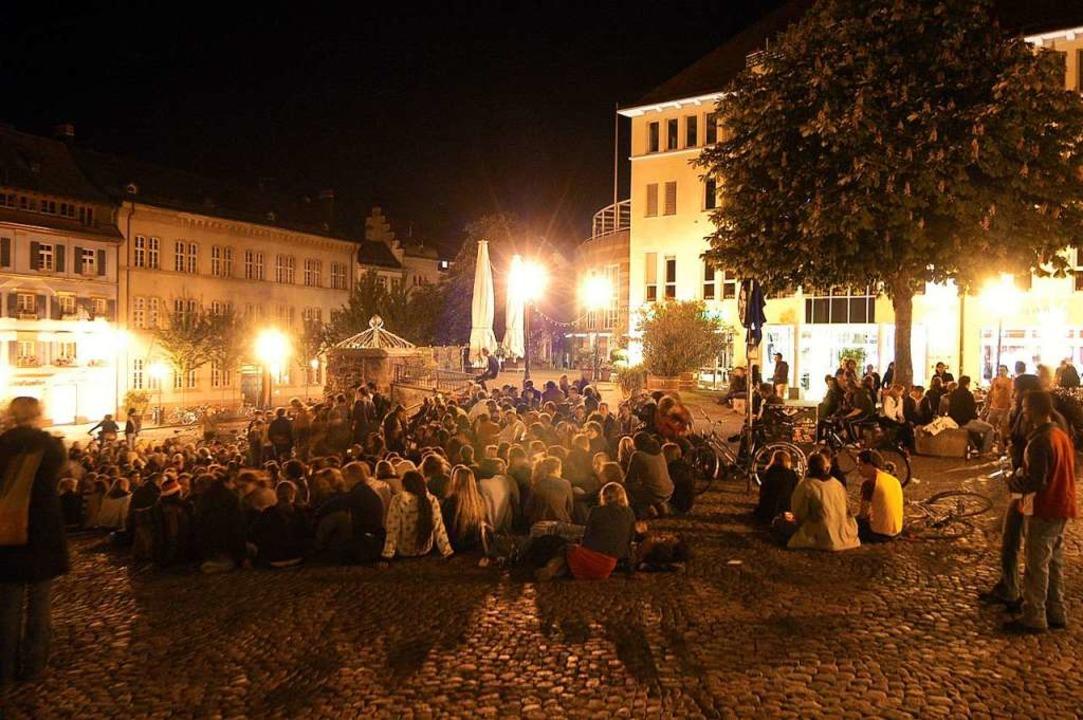 So voll ist es auf dem Augustinerplatz nur im Sommer (Archivbild)  | Foto: Thomas Kunz