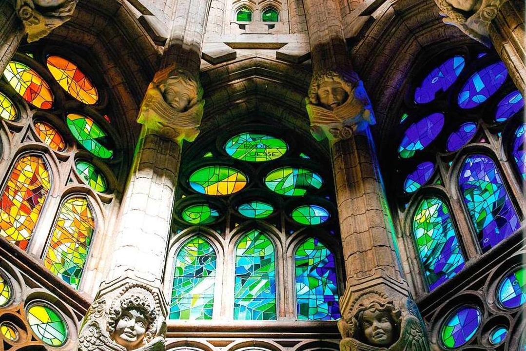 Basílica de la Sagrada Família: von Ga...ach exakten Studien entworfene Fenster  | Foto: -