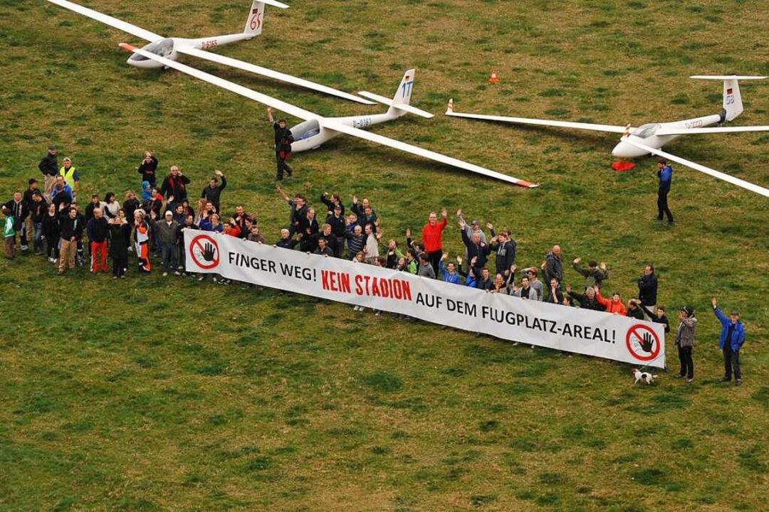 Die Segelflieger sehen das SC-Stadion ... der Stadt zu verhandeln (Archivbild).  | Foto: Rita Eggstein
