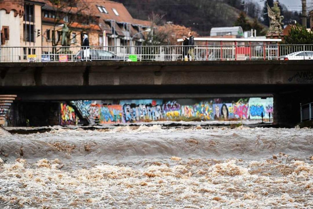 Nach den Niederschlägen der vergangene... führt die Dreisam wieder mehr Wasser.  | Foto: dpa
