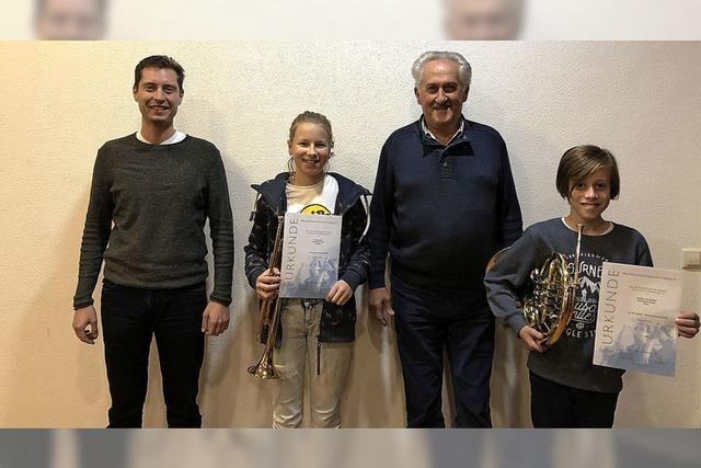 Mit Trompete und Horn erfolgreich