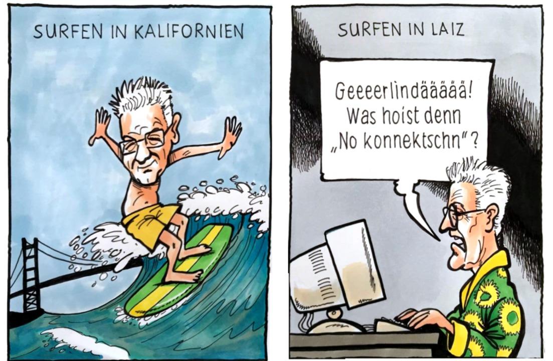 Work-Life-Balance mit 70: Manches geli..., anderes  wohl erst nach  Netzausbau.  | Foto: Karikatur: henne