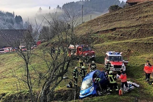 Glück im Unglück: Auto rollte Abhang hinunter