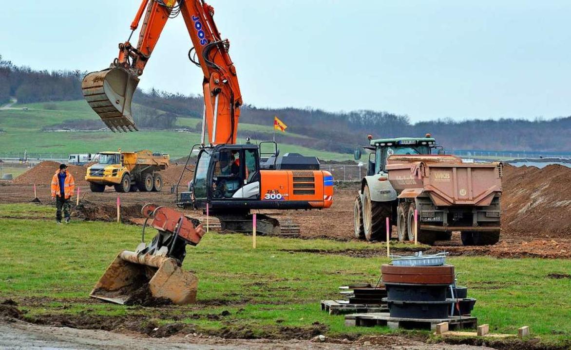 Die Baustelleneinrichtung läuft &#8211...bruar soll es mit dem Rohbau losgehen.  | Foto: Michael Bamberger