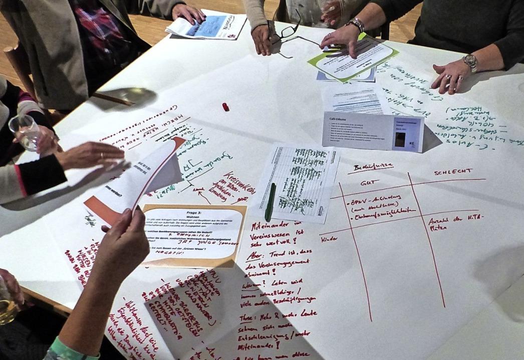 Ideen sind gefragt: Bei einem Bürgerca...er Vorschläge für ein Gemeindekonzept.  | Foto: Claudia Bachmann-Goronzy