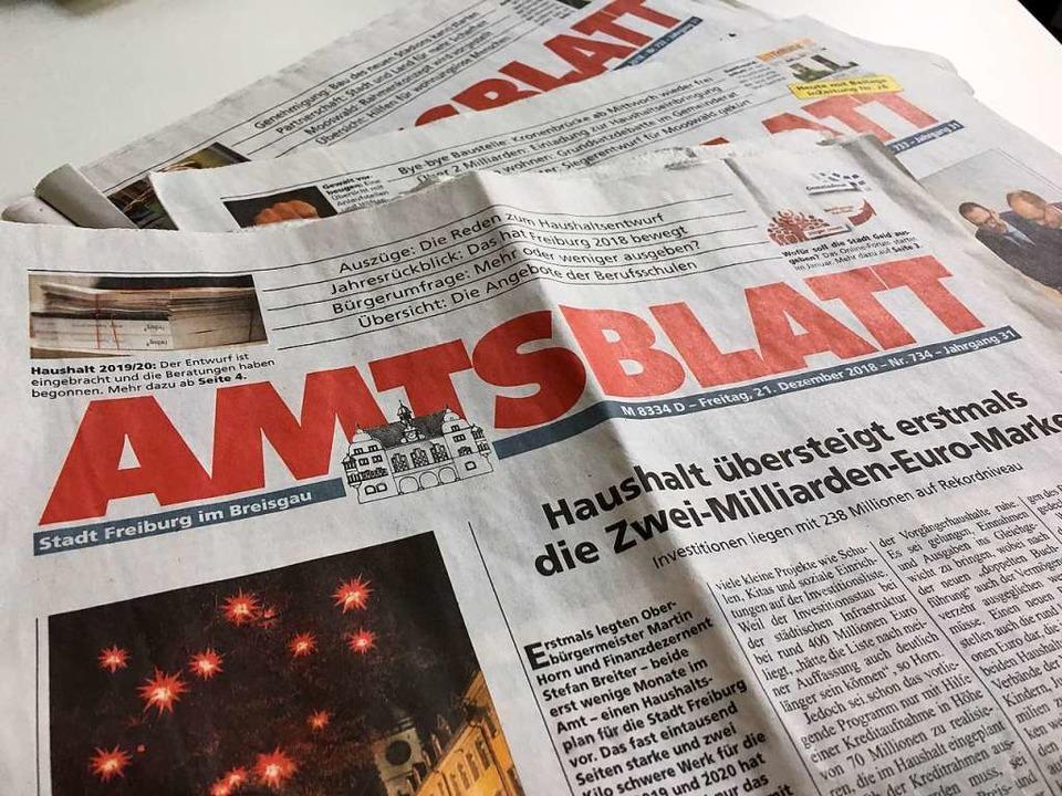 Das Amtsblatt der Stadt Freiburg ersch...i Wochen in einer Auflage von 106.000.  | Foto: Carolin Buchheim