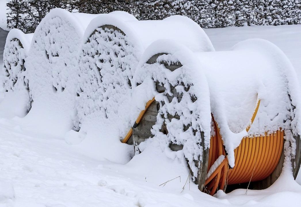 Der Glasfasernetzausbau  auf Gemarkung...zeitige  Ruhepause ist winterbedingt.     Foto: Wilfried Dieckmann