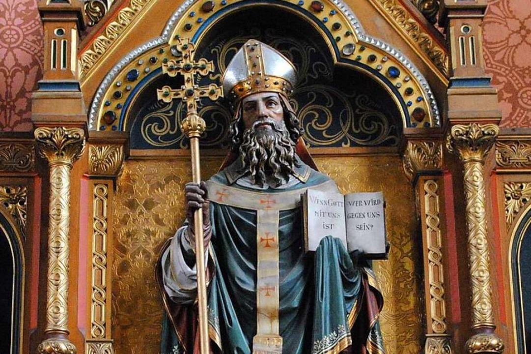 Der heilige Bischof Hilarius in der Bollschweiler Kirche    Foto: Frietsch