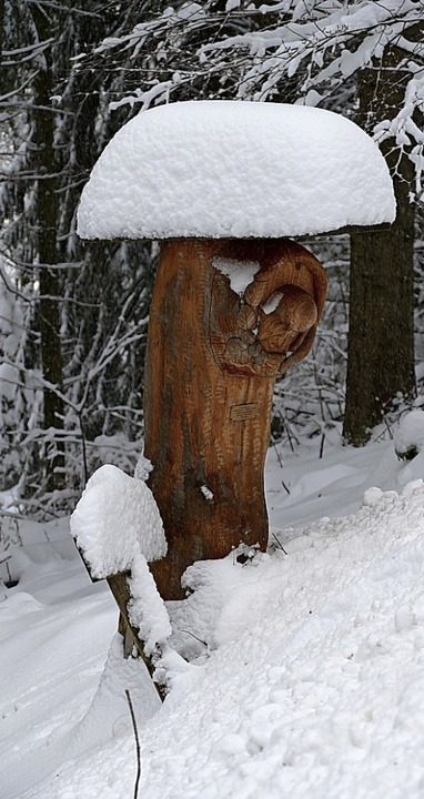 Schänzlehof (links) und eine Holzskulptur mit Schneehut    Foto: Christian Ringwald