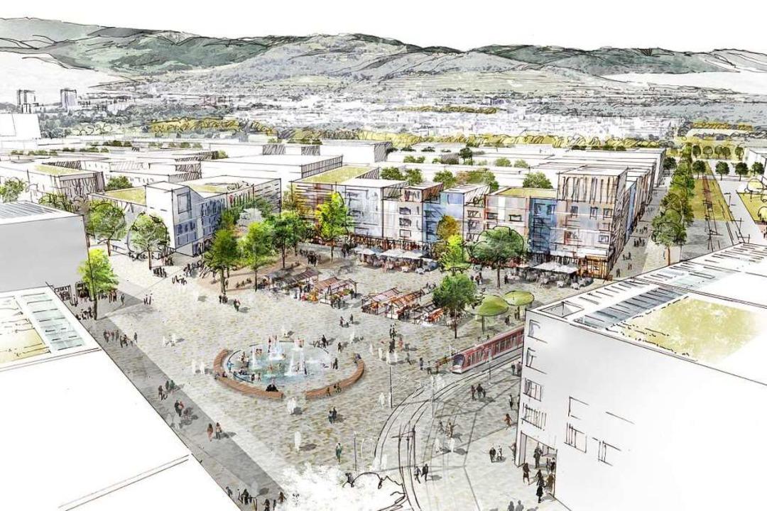 So könnte der zentrale Platz im neuen ...den Wahlkampf für den neuen Stadtteil.