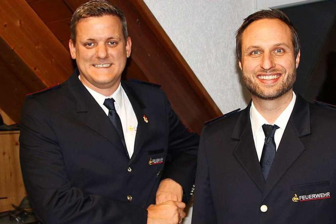 Das neue Führungsteam der Wehr: Komman...und sein Stellvertreter Simon Schätzle  | Foto: Mario Schöneberg