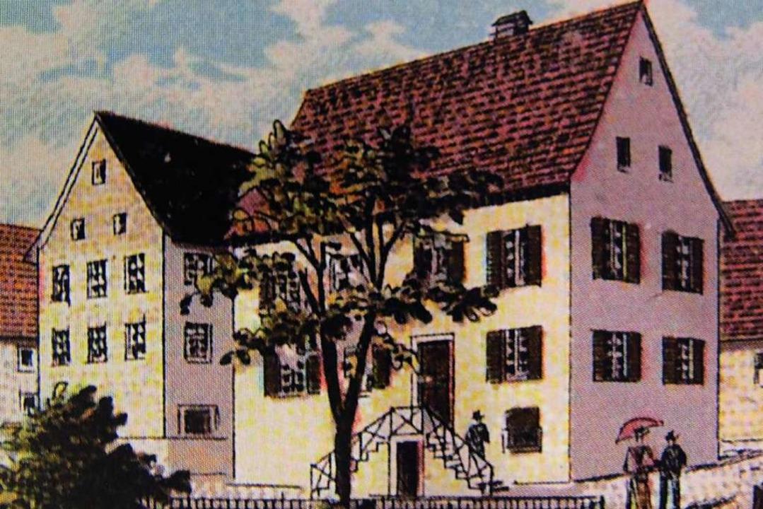 Das zum Verkauf stehende Gasthaus zum maien auf einer alten Postkarte.  | Foto: Jutta Schütz