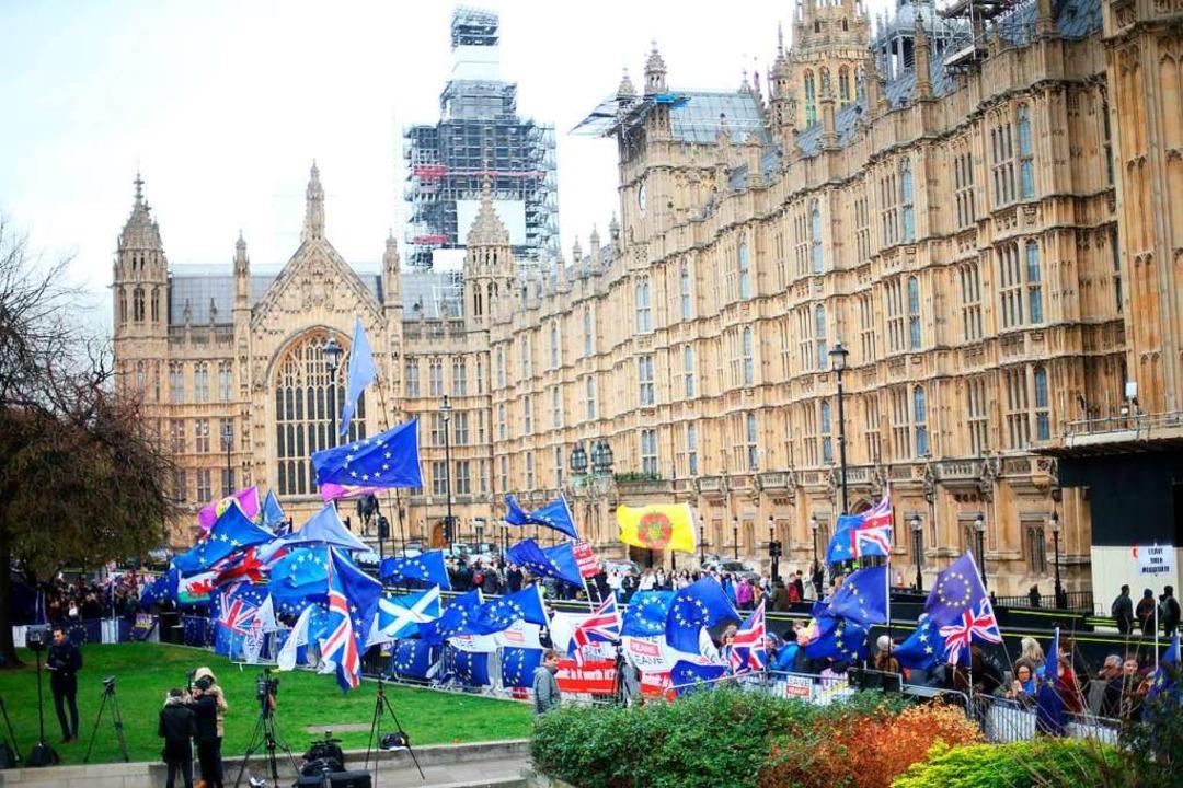 Brexit-Gegner stehen vor dem Parlamentsgebäude in London.   | Foto: dpa