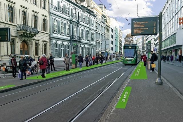 Einfach und bequem in die Basler Straßenbahn einsteigen