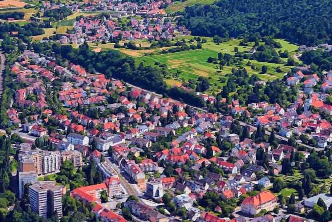 Das Luftbild zeigt das geplante Baugeb...linie Alt-Zähringen und oben Wildtal.   | Foto: Google-Luftbild/GeoDasis-DE/BKG