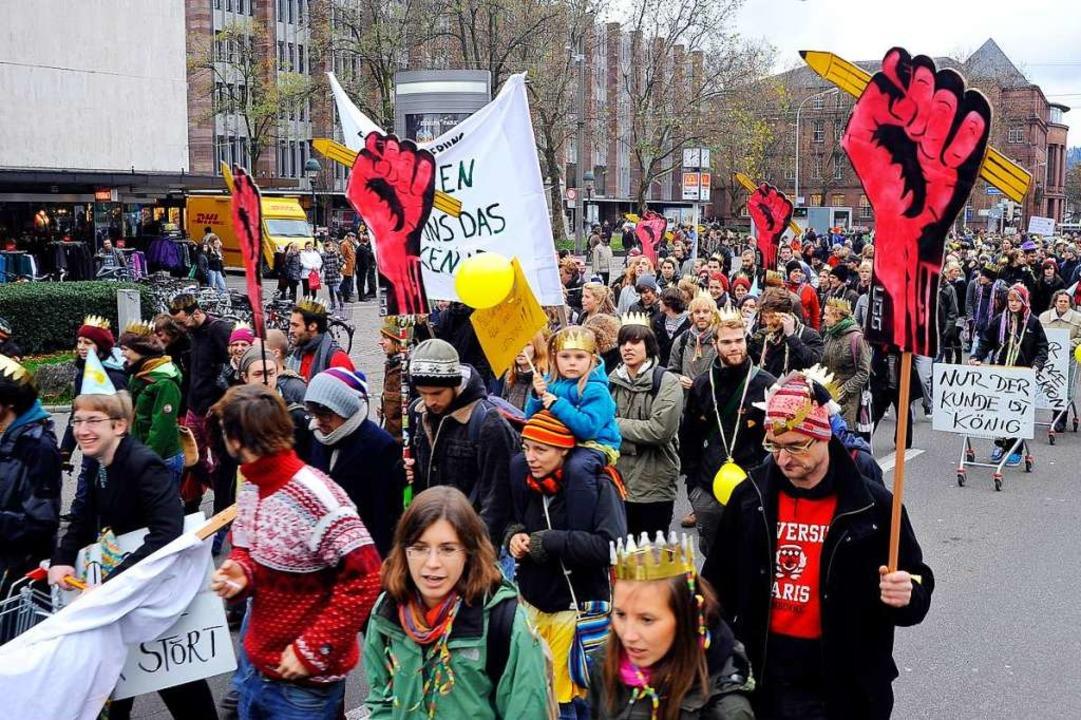 In Freiburg sind Schülerinnen und Schü... früher 2010er immer wieder gestreikt.    Foto: Thomas Kunz