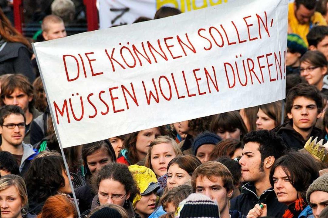 Schon 2009 haben sich Schülerinnen und...en. Damals ging es um bessere Bildung.  | Foto: Ingo Schneider