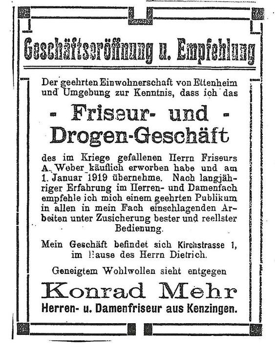 Die Anzeige zur Eröffnung im Jahr 1919    Foto: bz