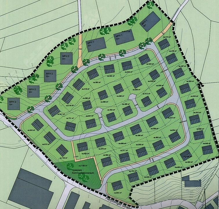 Nordöstlich der  Harpolinger Straße (v...biet  für rund 360 Menschen entstehen.  | Foto: Skizze: Gemeinde Murg/Büro Geoplan