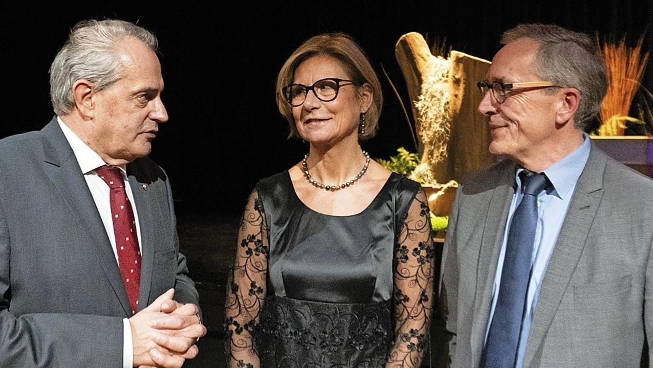 Jean-Marc Deichtmann (links) begrüßte ...ristoph Huber und dessen Frau Birgit.   | Foto: Breuer